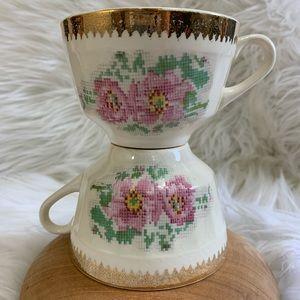 Vtg Gilded Floral Cross-stitch Porcelain Teacups